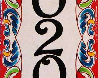 Vertical house number, house number plaque, porcelain sign, hand painted Italian and spanish house numbers, housewarming gift, closing gift,