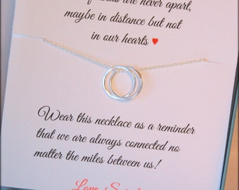 Best Friends eternity necklace, connecting circles, best friends poem, friendship jewelry, going away gift for best friend