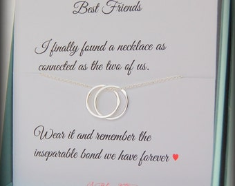 Best friend gift, friendship necklace, Connected necklace, BFF gift, Graduation gift, Connecting circles necklace, birthday gift best friend