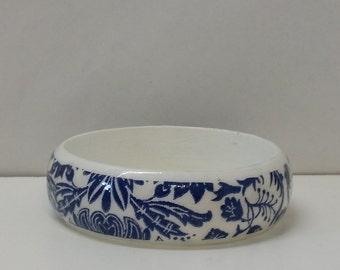 Handmade Decoupage Wood Bangle Bracelet White and Blue Leaf Design