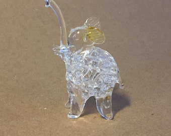 """Vintage Hand Blown Glass Clear Squiggle Glass Elephant with Light Yellow Ears """"Murano Style"""""""