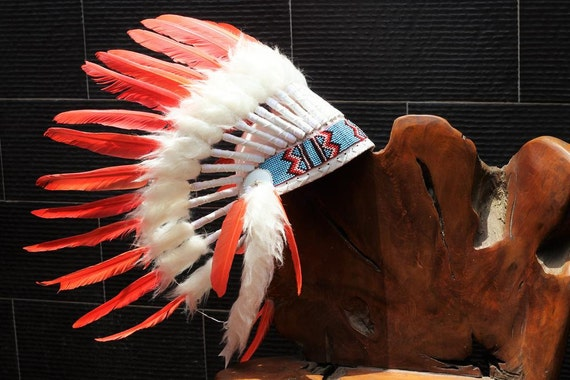 FLUOR COLLECTION: Orange Indian Warbonnet .Native American Style Feather Headdress
