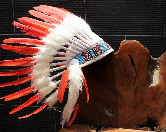 X33 FLUOR COLLECTION: Orange Warbonnet .Native American Style Feather Headdress