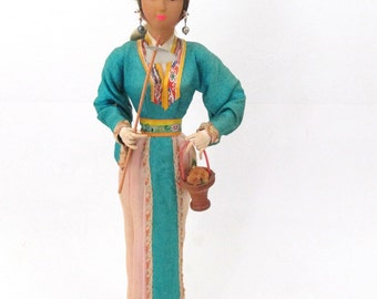 Chinese Girl Doll on Wooden Base with Asian Cloth Costume