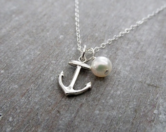 Sterling Silver Anchor Necklace, Freshwater Pearl, Beach Wedding, Bridesmaids