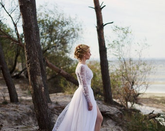 """White and Nude Tulle Wedding Dress with Lace, Wedding dress """"Alina"""", Beach Wedding Dress, Lace Wedding Dress, Custom dress"""
