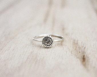 Sunflower ring, sterling silver ring,sun flower ring, flower rings, floral ring, fall ring, sterling silver ring