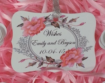 100 WISHES TAGS Custom Bride and Groom Name Adorned With A Silver Sparkle Ribbon