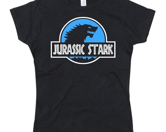 Ladies Jurassic Park GOT Game Thrones Stark Parody Tshirt (BLUE VER)