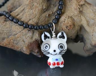 Handmade lampwork glass bead pendant - artisan lampwork bead - Cat - Kitty -  Sterling Silver - made by Silke