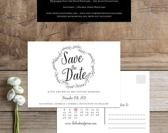 Printable Save the Date Postcard - the Allie Collection - Save the Date - Printable Save the Date - Save the Date Postcard - Save Our Date