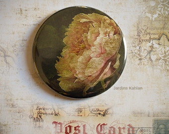 Pocket Mirror, mirror bag, peony, pink, flower, romantic, bohemian, retro, fashion accessories, daily, poetry, poetic, floral