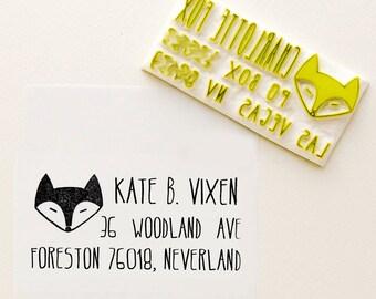 Fox Stamp Custom Return Address rubber stamp - Personalized gift, dreamy fox stamp  - Housewarming, anniversary, couple gift