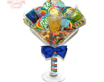Large Martini Glass Rainbow Lollipop Candy Centerpiece, 21st Birthday Candy Martini, Bachelorette Party Centerpiece, Edible Shot Glasses