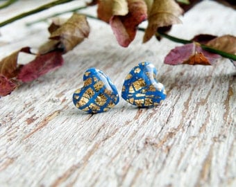 Royal blue earrings gold stud earrings handmade blue gold heart studs post earrings heart earrings blue stud bridal earrings bridesmaid gift
