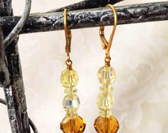 Antique Crystal and Glass Bead One of a Kind Earrings...Autumn Leaves
