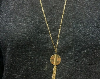 "Golden Tassel Necklace - 28"" gold necklace with gold coin and tassel"