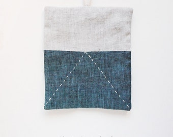 Up Linen Patchwork Pot Holder | gray + navy combination with modern sashiko embroidery | off white cotton loop