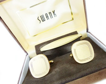 Groom gift set. Vintage SWANK Cuff Link & Tie Bar set in original box. Authentic old school mad men inspired stocking stuffer for him