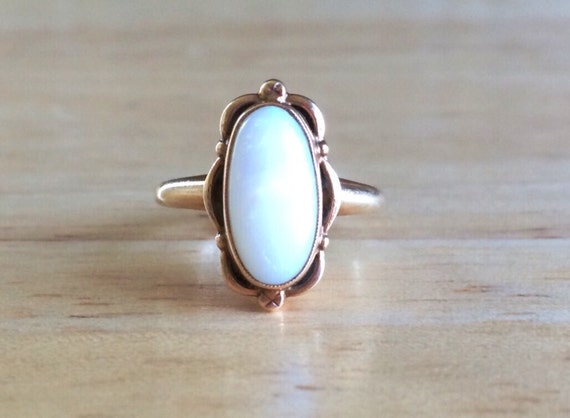Opal Engagement Ring Vintage 10kt Yellow Gold Cabochon
