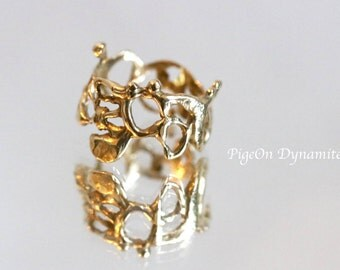 """Statement Ring: Organice Lace Ring """"Jukai"""" Hammered Texture Ring-Size 5.5 *Ready to Ship in Sterling Silver, Brass"""