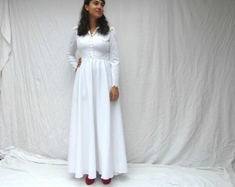 Maxi wedding dress, 70's fashion, polyester, size M, vintage dress, boho wedding dress, vintage clothing, retro clothes, French vintage.