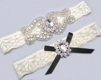Wedding Garter Black And White Ivory Bridal Set Crystal Rhinestone Keepsake Toss
