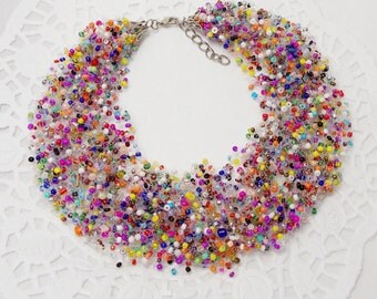 Girlfriend|gift|for|best|friend Beaded jewelry Statement necklace rainbow jewelry bib necklace spring jewelry summer jewelry funny jewelry