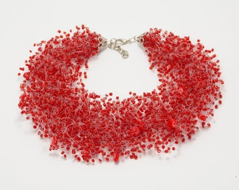 Mom Birthday gifts be my valentine gifts Red necklace bib necklaces bridal red jewelry ukrainian necklace coral jewelry christmas necklace