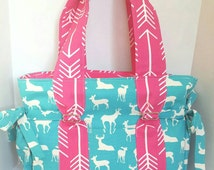 Large Diaper bag, purse, handbag turquois and white deer with pink arrow straps and lining. Key pocket, option of removable strap and zipper