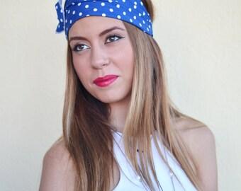 Polka Dot Headband, Blue Headband, Bandana Headband, Elastic Headband, Fitness Headband, Vintage Headbands, Turban Headband, Womens Turban
