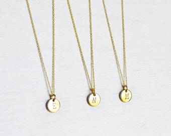 Hand Stamped Gold Plated Initial Necklace // Dainty Layering Necklace // Dainty Gold Necklace