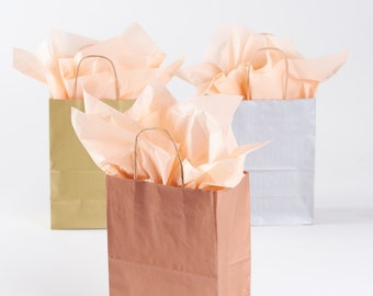 20 Metallic Rose Gold Gift Bags with Handles - size Rose or Cub - Wedding Guests Welcome Bag