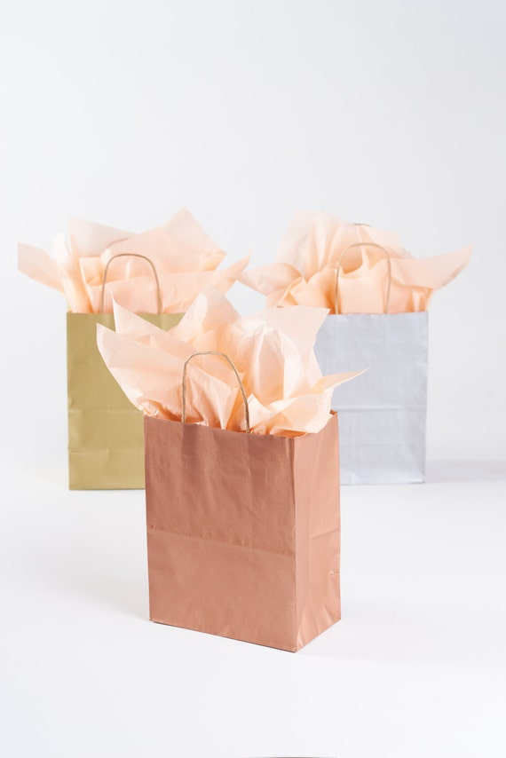 20 Metallic Rose Gold Gift Bags With Handles Size Rose Or