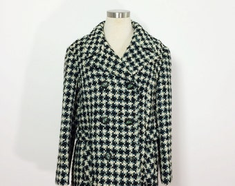 1960s Houndstooth Jacket Coat / Double Breasted Coat / Woven Cropped Jacket /  Fitted Jacket
