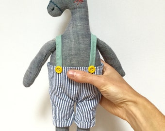 Clementine - Donkey Stuffed Animal Doll - Soft Sculpture, Soft Toy, Cloth Horse, Cloth Doll, Rag Doll, Fabric Doll, Plushie, Softie Art Doll