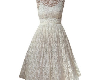 1950s delicate lace vintage tea length wedding dress
