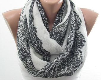 Lace Print Scarf Black and White Scarf Spring Circle Scarf Infinity Scarf  Womens Christmas Gift For Her Fashion Gift For Mom Grandmother