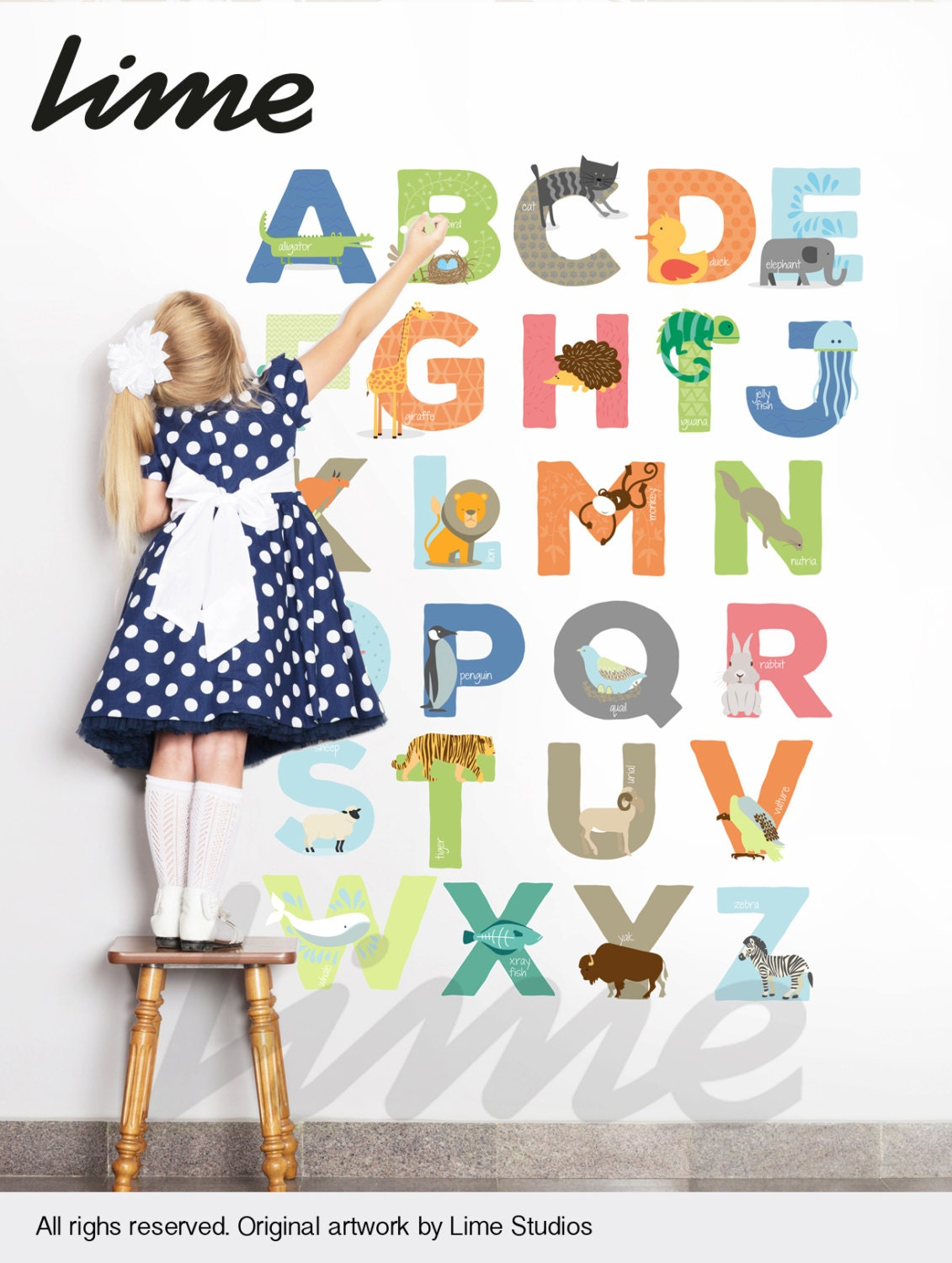 Animals alphabet wall decals peel and stick animals and for Alphabet wall mural