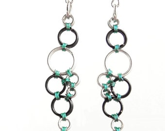 Droplet Earrings / Long Earrings in Black, Silver and Turquoise / Wire Wrapped / Colorised Copper / Fish Hook