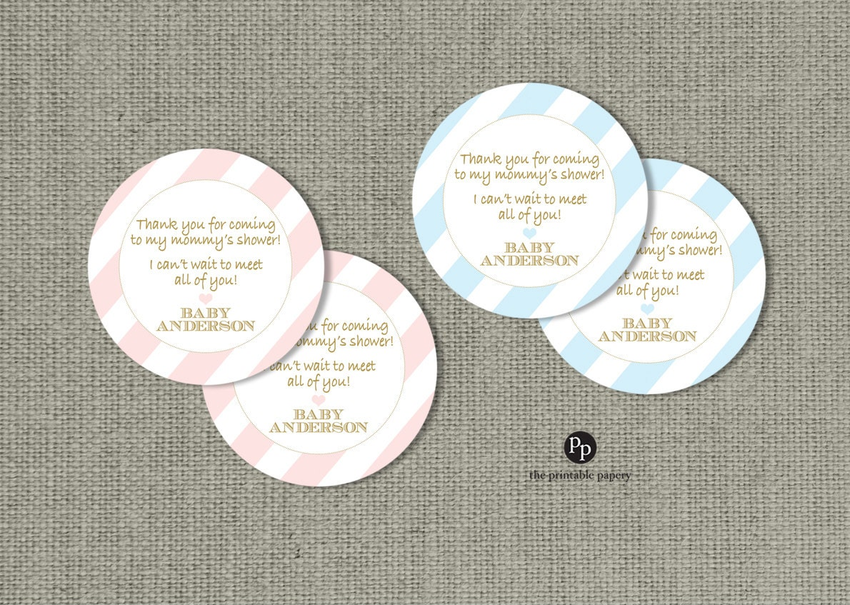 Baby shower gift favor tags personalized printable round - Baby shower favor tags ...