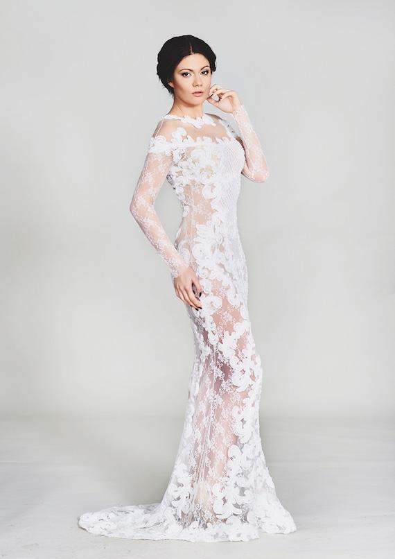 Lace wedding dress boho bridal gown wedding gown sleeves for Boho wedding dresses australia