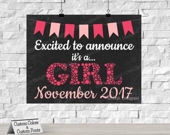Printed Its a Girl Pregnancy Announcement Chalkboard Sign - Gender Reveal Print - {15CP}