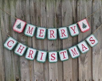 Christmas banner, Burlap MERRY CHRISTMAS  banner, Christmas holiday decor, holiday banner,  Xmas banner, Christmas sign, garland