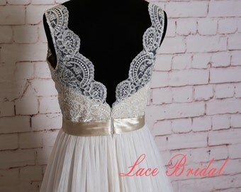 Elegant Lace Wedding Dress with V Neck Simple Wedding Dress with Champagne Underlay Classic Ivory Overlay Bridal Gown with Sheer Tulle Train