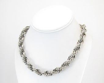 Vintage Twisted Chain Necklace, Silver Tone