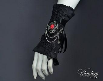 Black Victorian Cuff with red rose cameo and Lily - Dark Gothic Fashion, Elegant Goth Wedding Jewelry, Lolita Accessories, Vampire jewelry