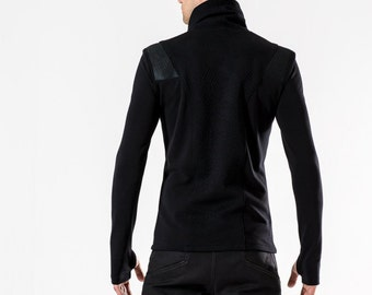 Cyberpunk Men's sweater turtleneck avant garde jumper sleeves with thumb holes - CS black