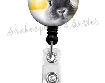 Peeking Bunny - Rabbit Badge Holder - Badge Reel - Retractable Badge - ID Holder