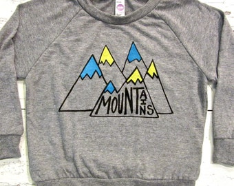 Mountains toddler long sleeve pullover. Hiking and camping kids shirt. Gender neutral. American Apparel.